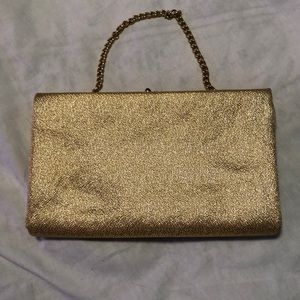 Vintage Bags - Vintage gold clutch purse with gold chain strap